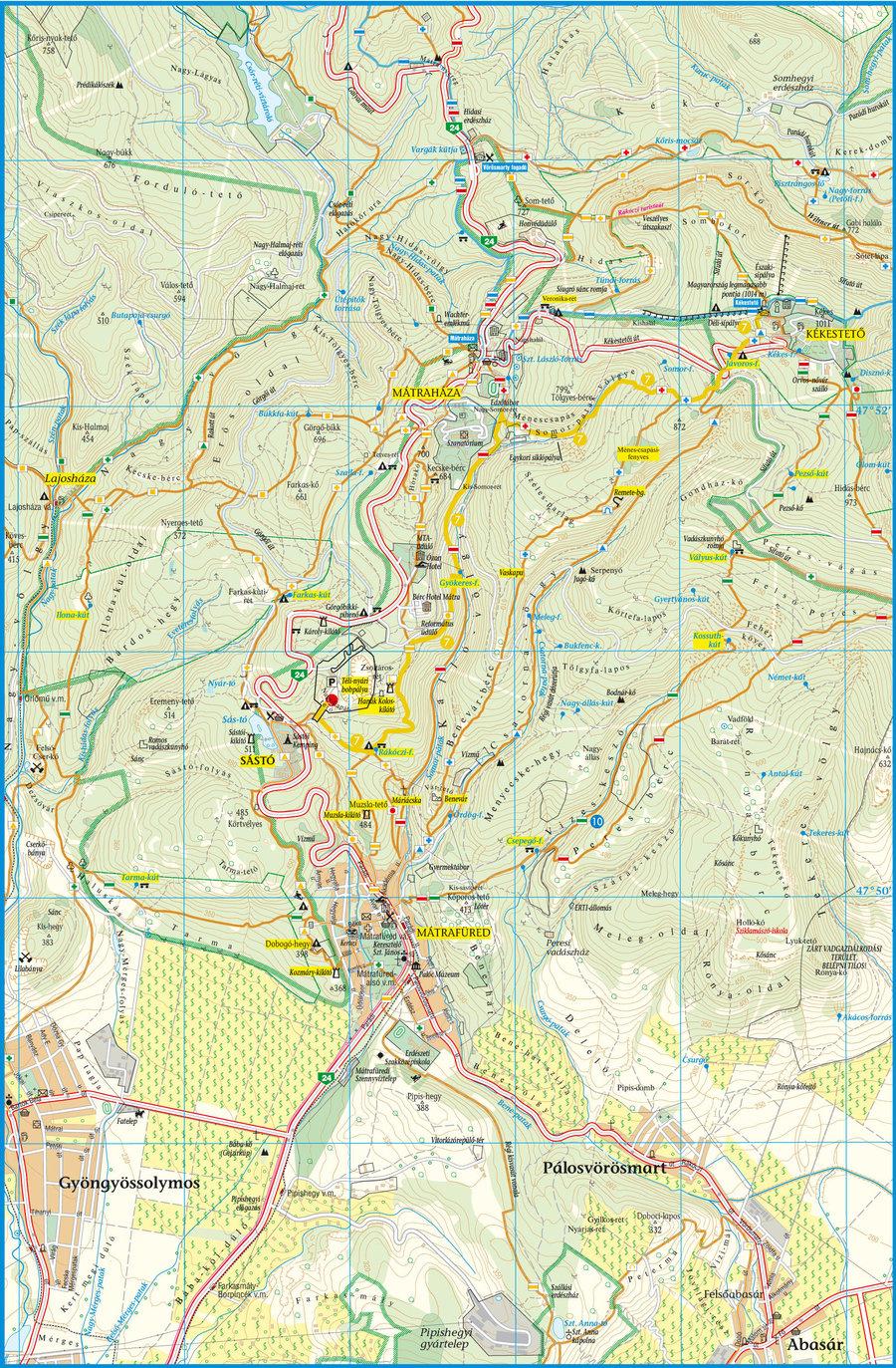 mátraháza térkép Tourist Paths mátraháza térkép